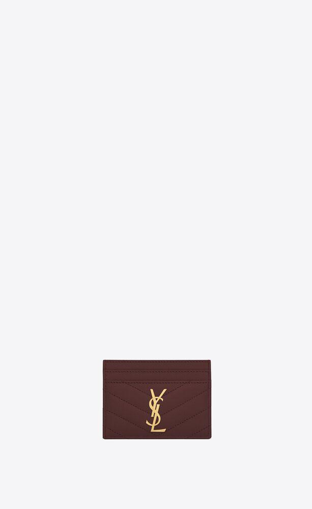 monogram 黑色细粒纹理提花凸纹真皮信用卡夹