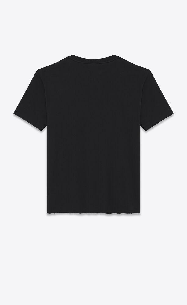 """宽松黑色透气纯棉 t 恤,印有象牙白""""圣罗兰""""标志"""