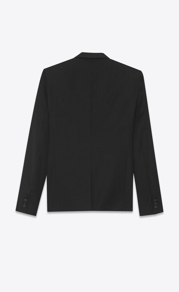 标志性le smoking黑色粒纹夹克