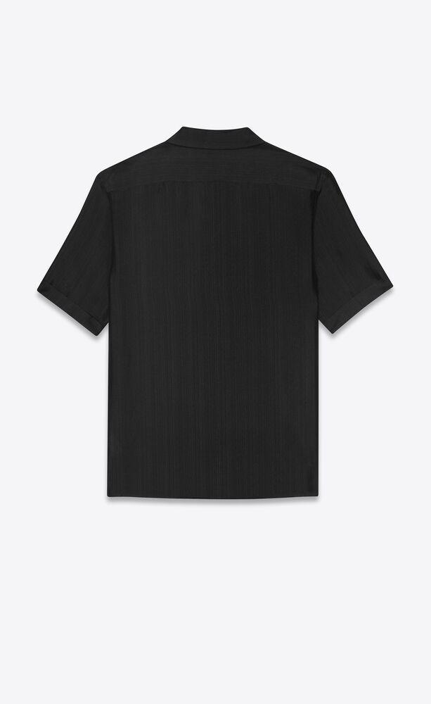 条纹桑蚕丝薄纱衬衫