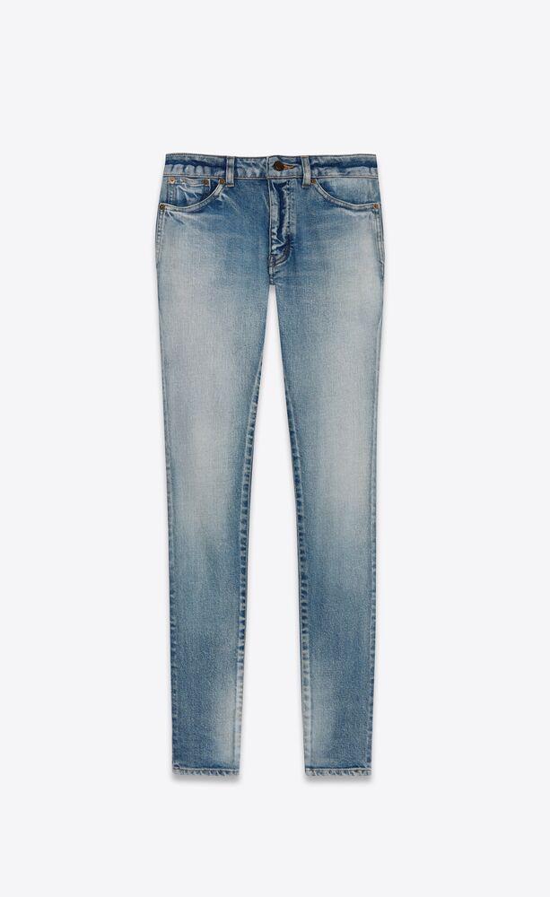 亮蓝色紧身牛仔裤