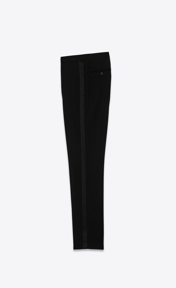 经典黑色细粒纹理羊毛 smoking 低腰长裤