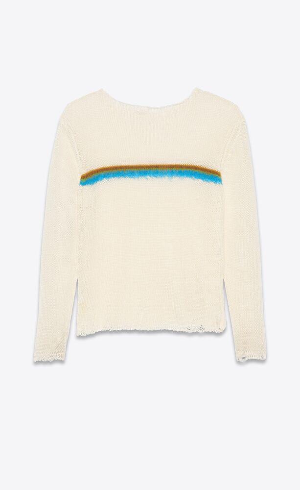 亚麻和拉绒马海毛破洞针织条纹毛衫