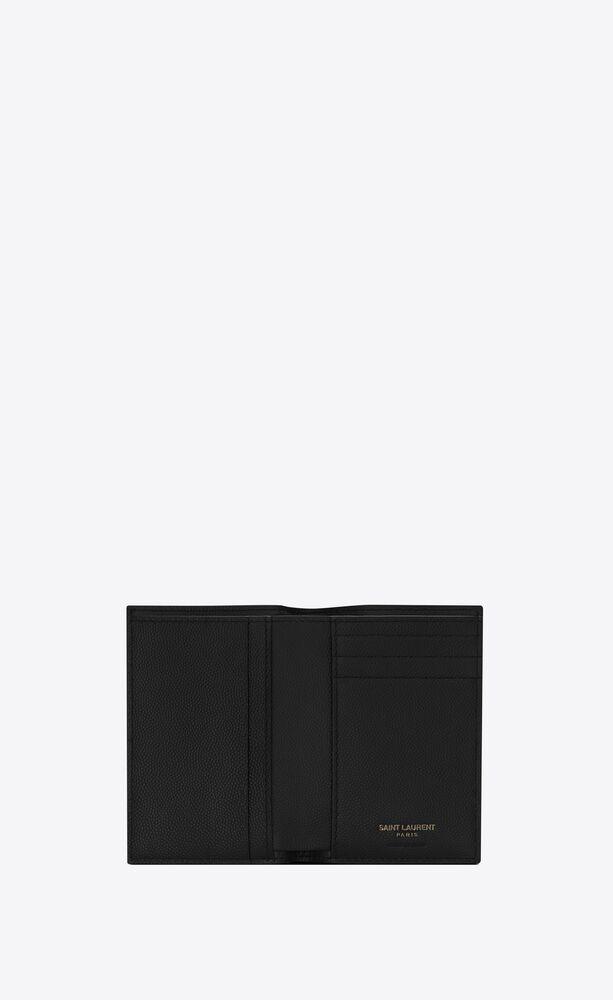 monogram粒面压印皮革信用卡包