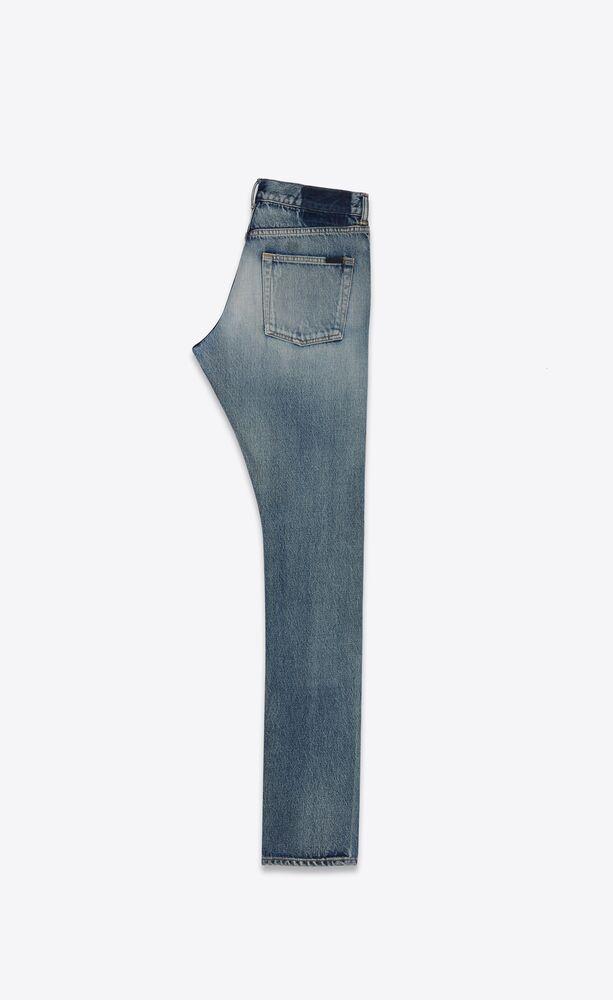 靛青天蓝色修身牛仔裤