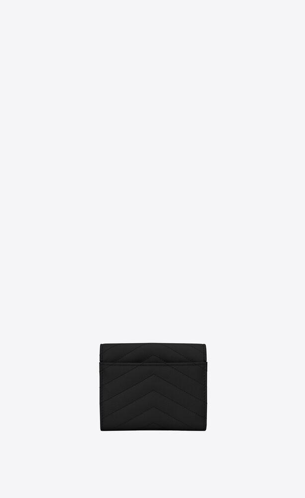 monogram黑色颗粒纹理提花真皮制短款三折钱包