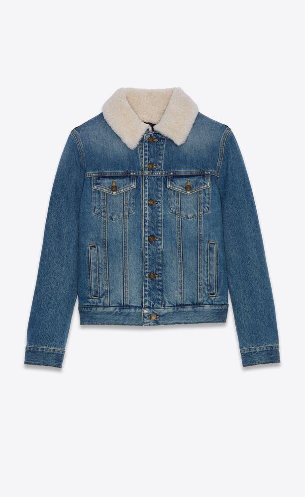70年代风格做旧蓝色剪羊毛衣领牛仔夹克