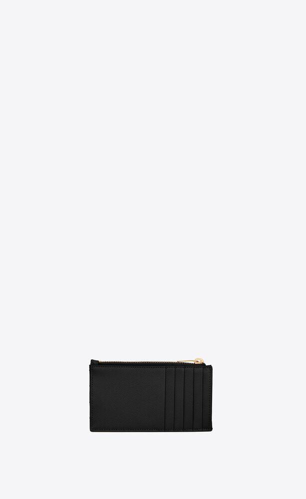 MONOGRAM FRAGMENTS粒面压印皮革拉链卡包