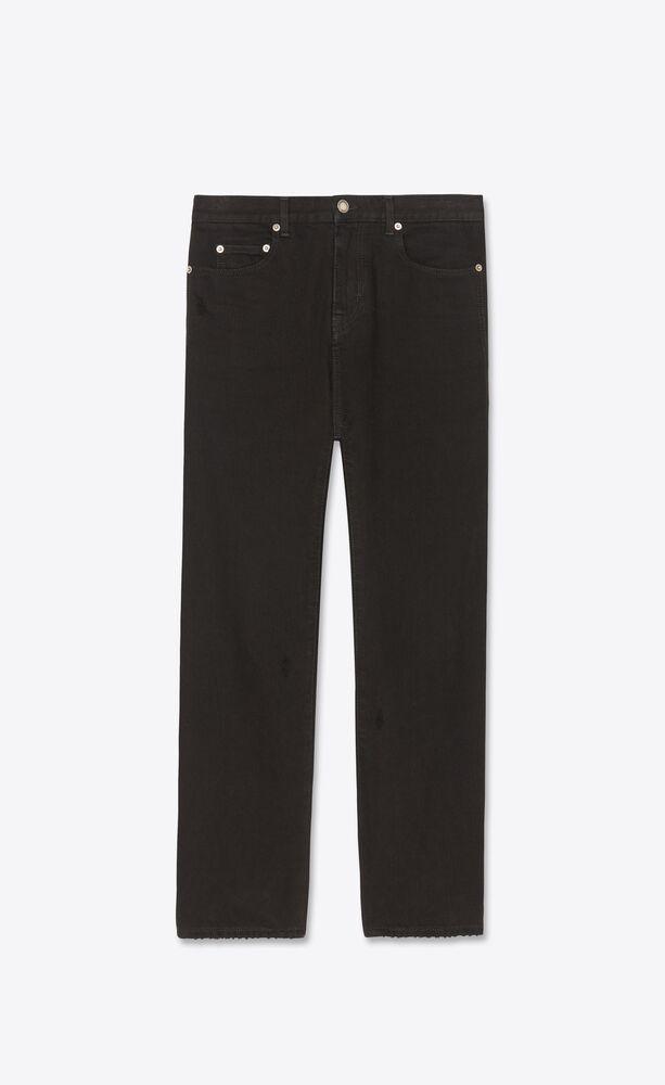 高腰直裁墨黑色牛仔裤