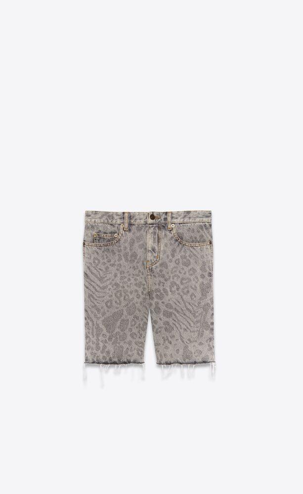 豹纹印花毛边牛仔短裤