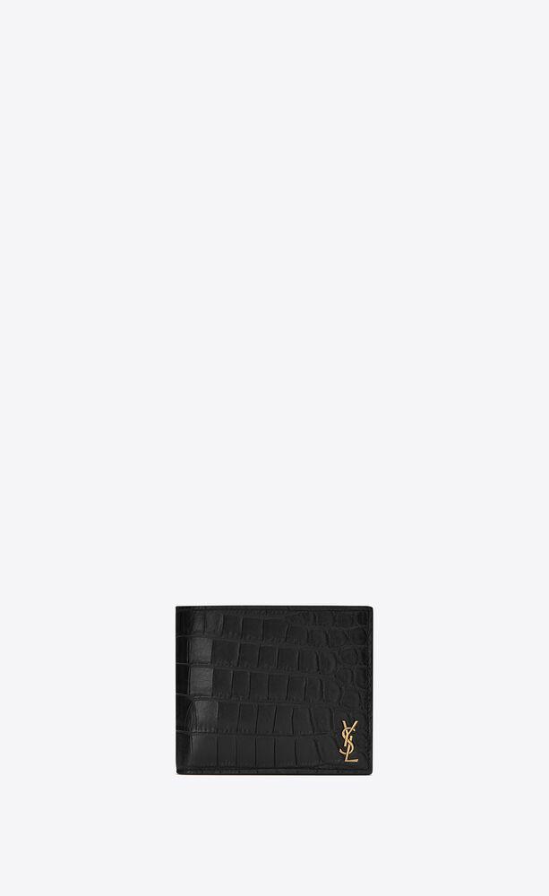 Tiny Monogram 横款鳄鱼纹压印雾面皮革钱包