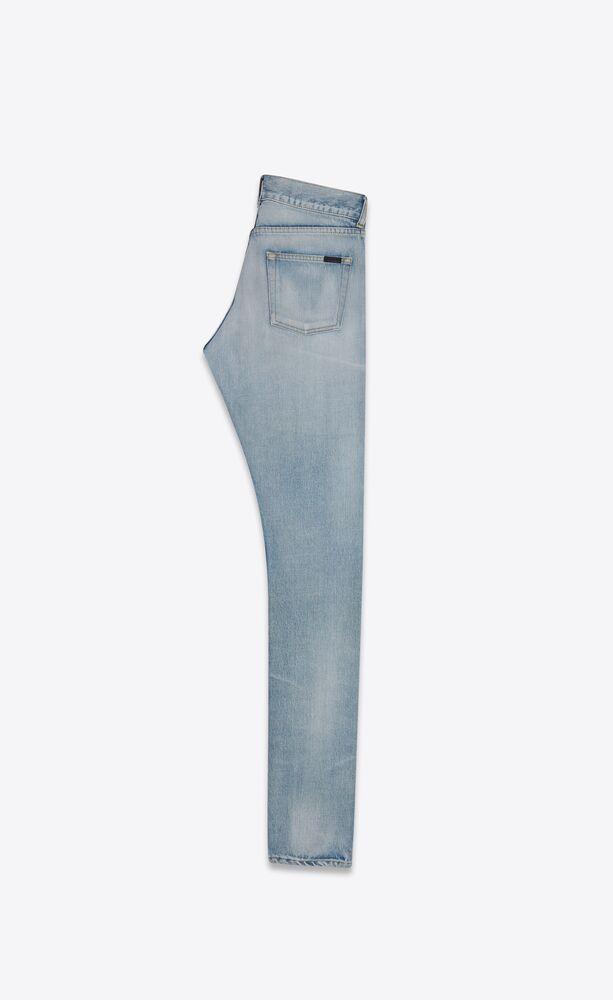 浅深秋蓝修身牛仔裤