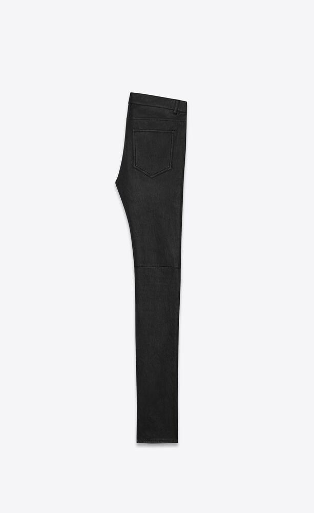 标志性黑色皮革低腰紧身牛仔裤