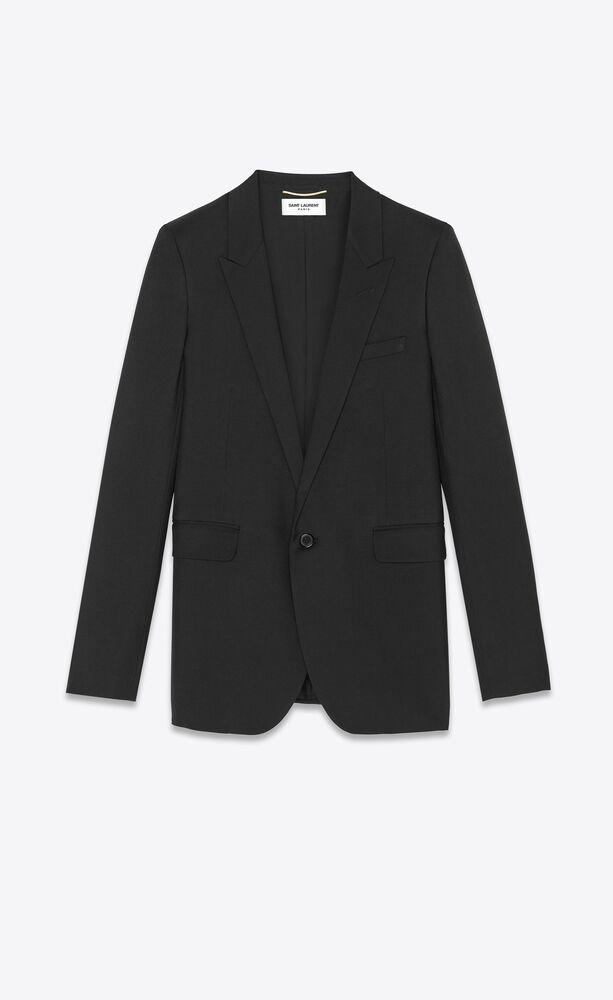 黑色华达呢单排扣管状夹克