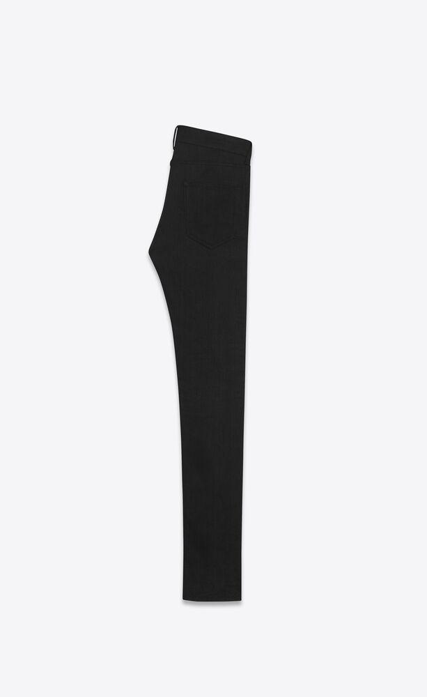 做旧黑色弹力紧身牛仔裤