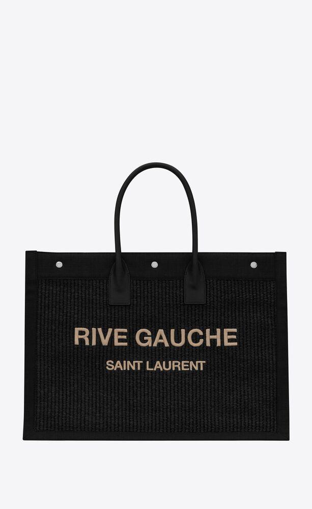刺绣仿草和皮革RIVE GAUCHE大号托特包
