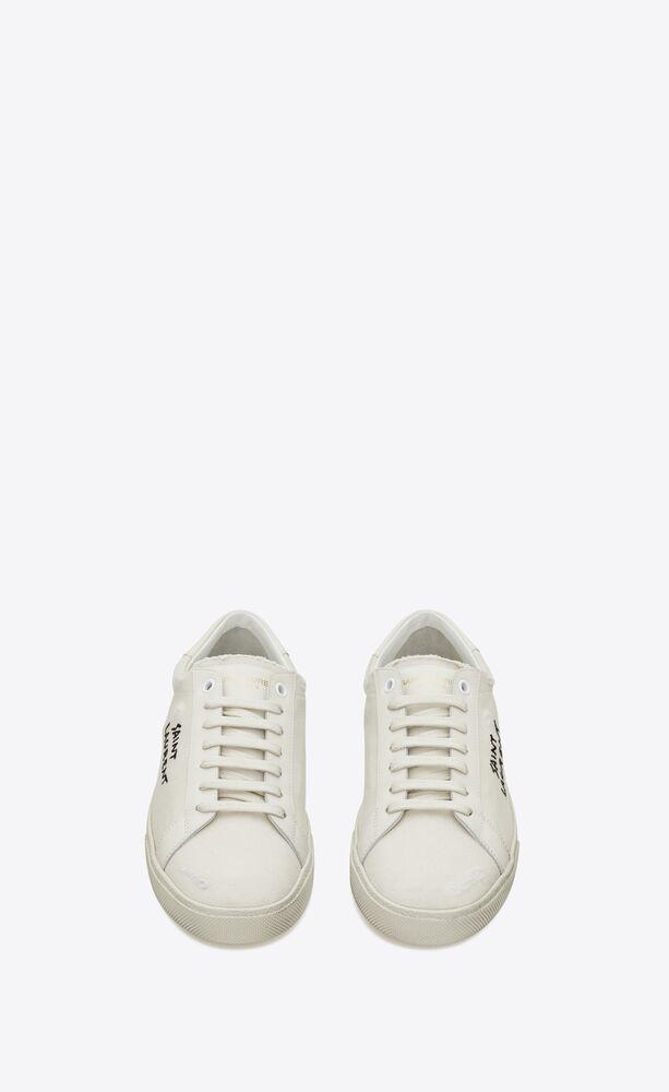 court classic sl/06白色做旧运动鞋,带圣罗兰印花