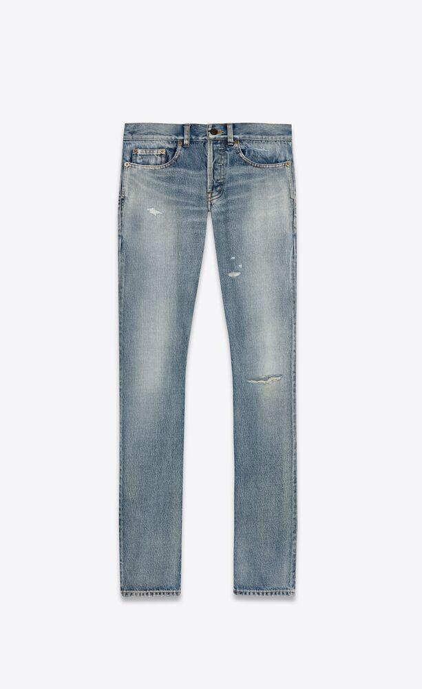 santa monica蓝色修身牛仔裤
