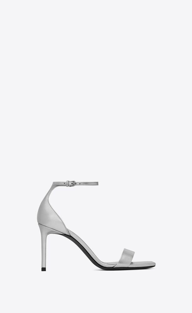 AMBER 金属质感真皮高跟凉鞋