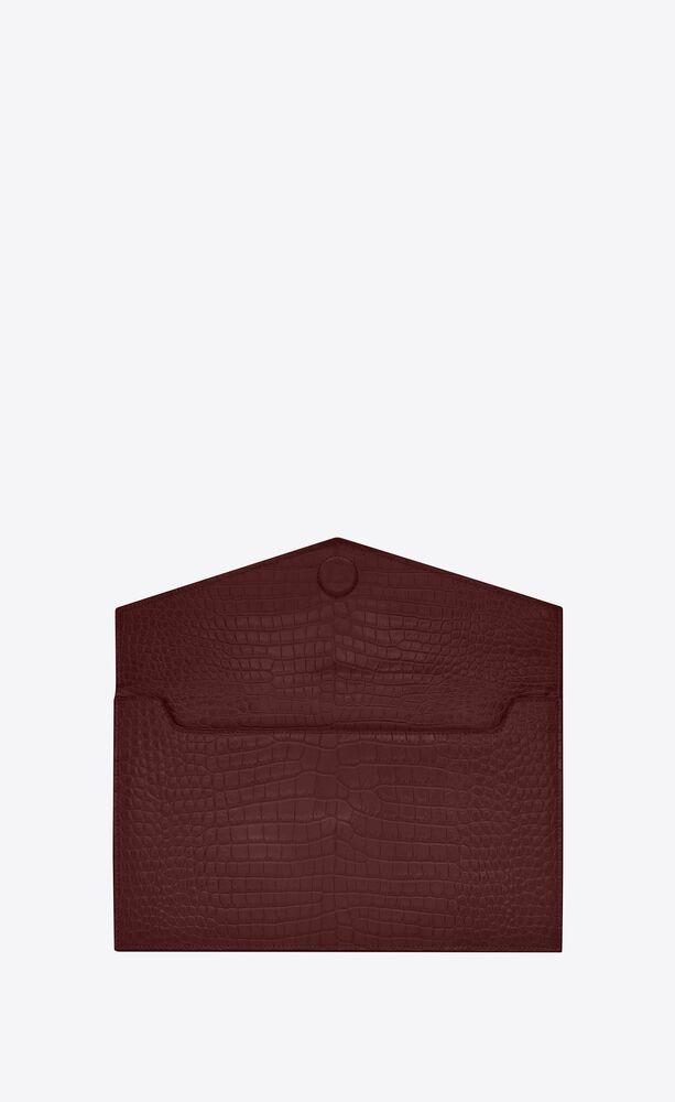 UPTOWN鳄鱼纹压印亮面皮革手拿包