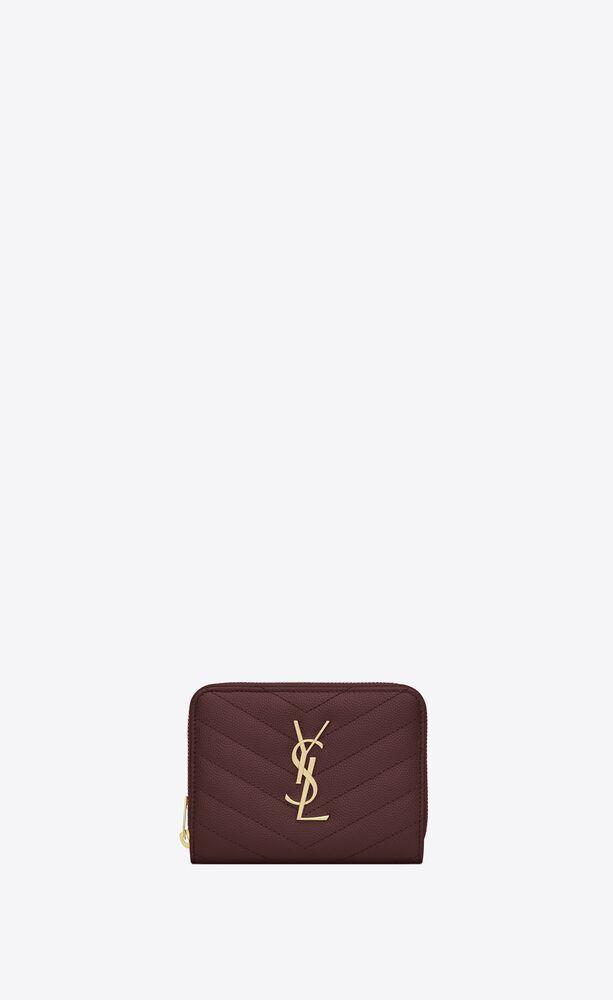Monogram深红色纹理绗缝真皮短款拉链钱包