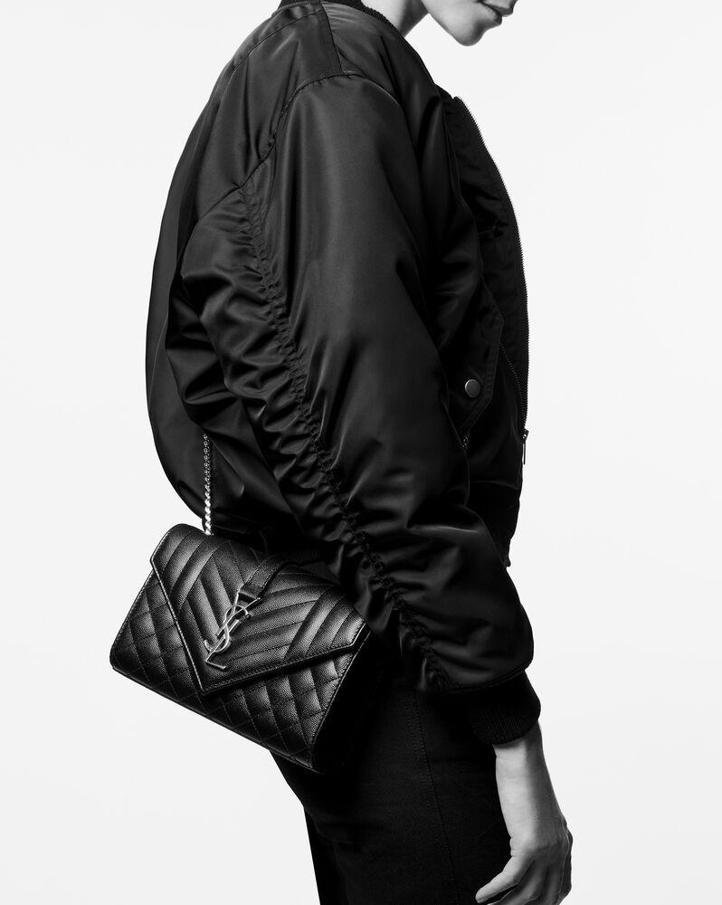 Envelope 小号黑色绗缝纹理真皮包