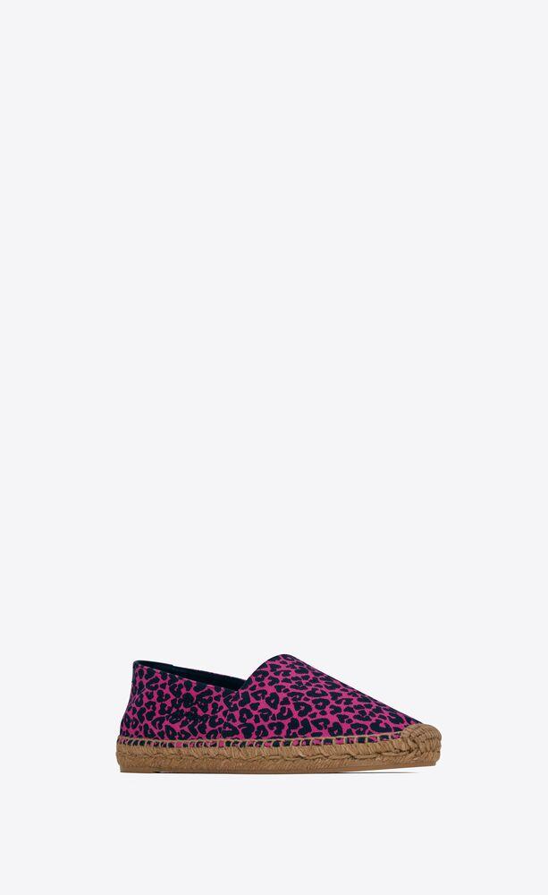圣罗兰心形豹纹印花刺绣麻绳底鞋