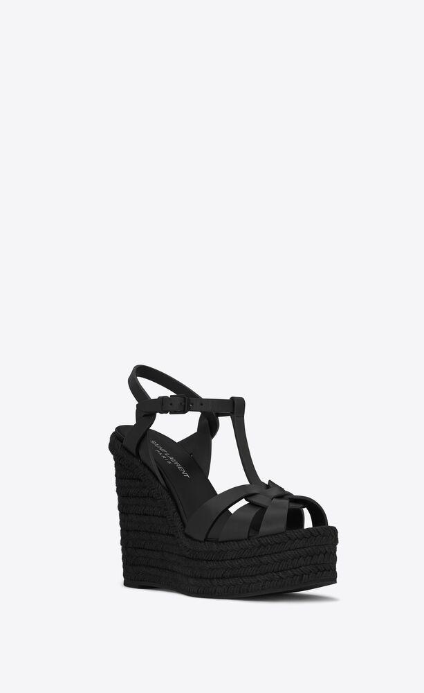 TRIBUTE光滑皮革麻绳底坡跟凉鞋
