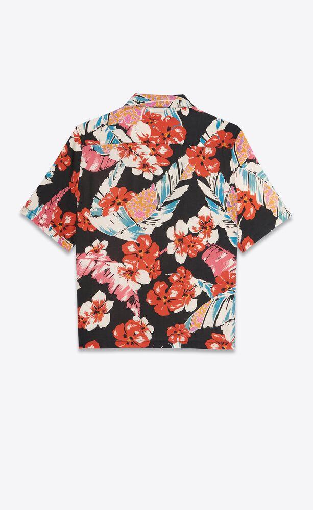 热带花朵莱赛尔纤维夏威夷衬衫