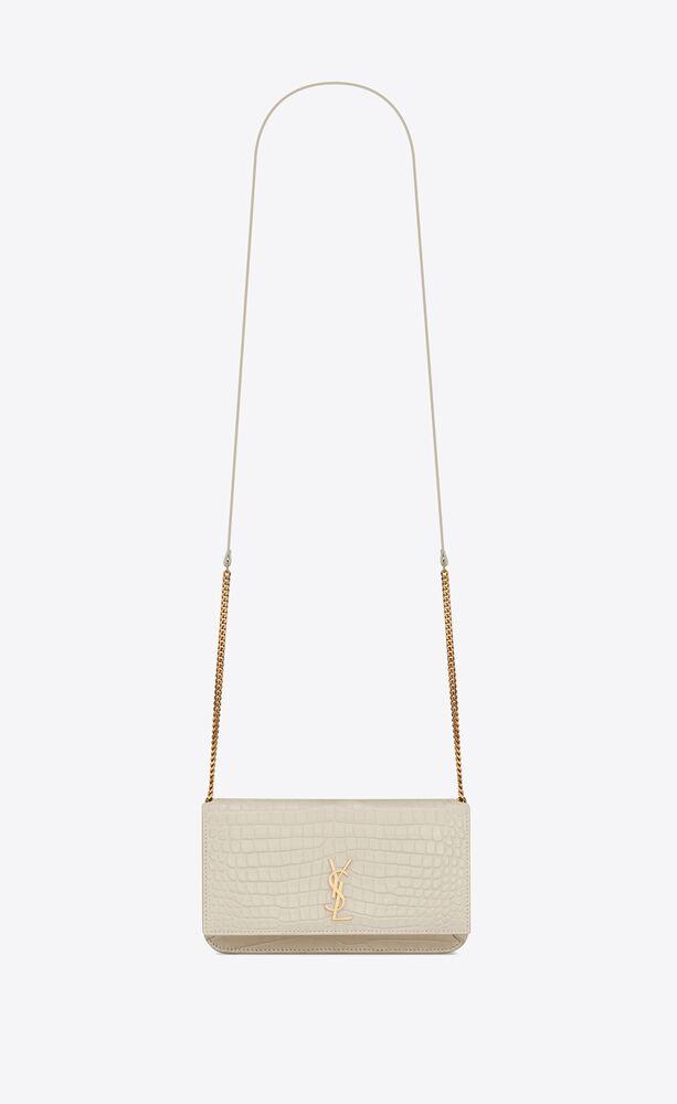MONOGRAM鳄鱼纹压印皮革饰带手机包