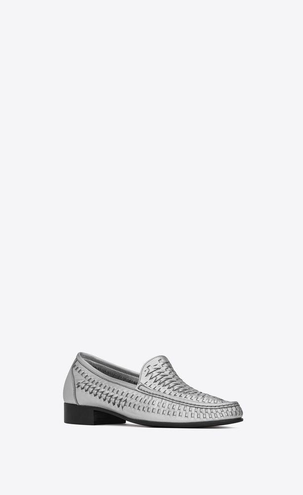 SWANN金属质感编织皮革乐福鞋