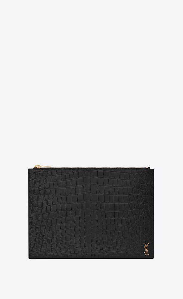 Tiny Monogram拉链鳄鱼纹压印雾面皮革平板电脑包