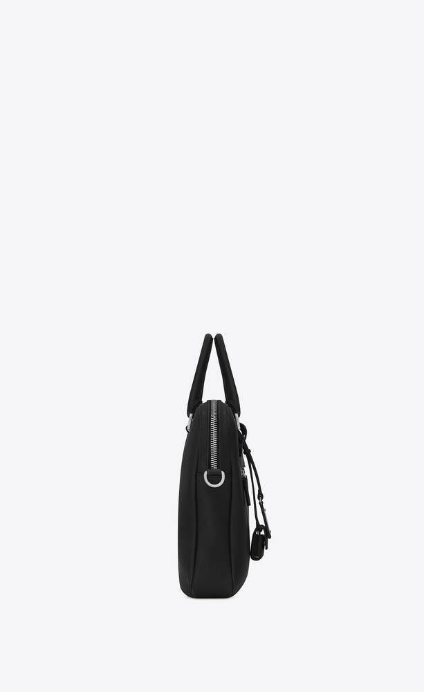 黑色粒纹真皮sac de jour souple公文包
