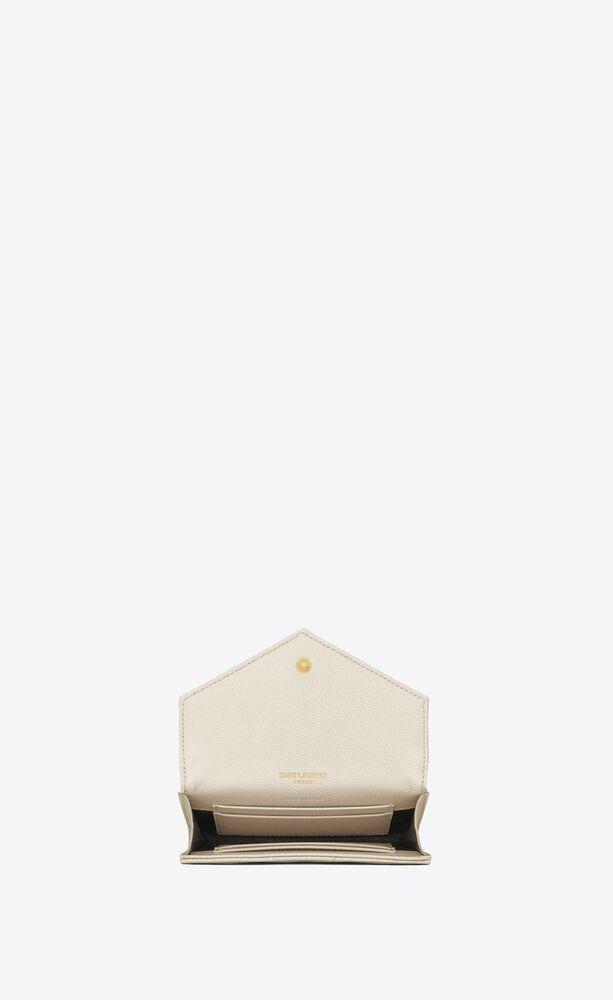小号字母标志颗粒纹理压花真皮信封钱包