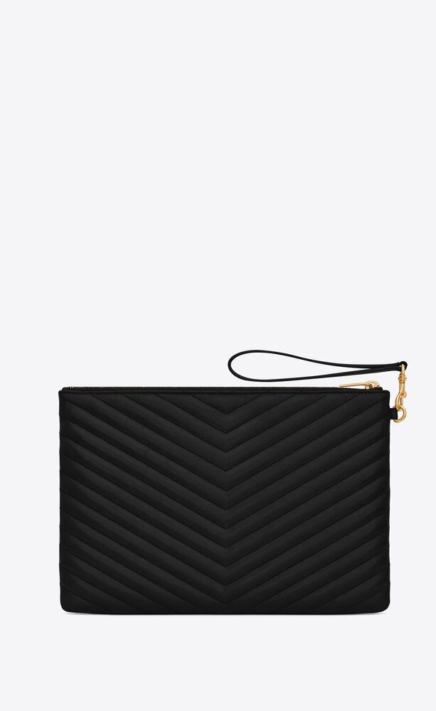 Monogram黑色绗缝真皮平板电脑包