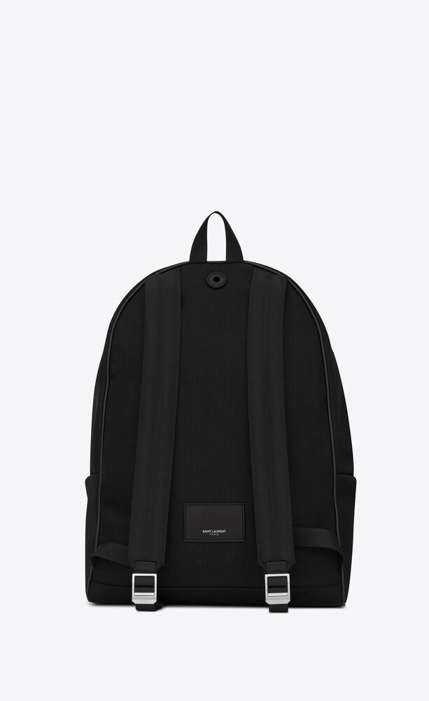 黑色斜纹帆布和真皮大号 city 背包
