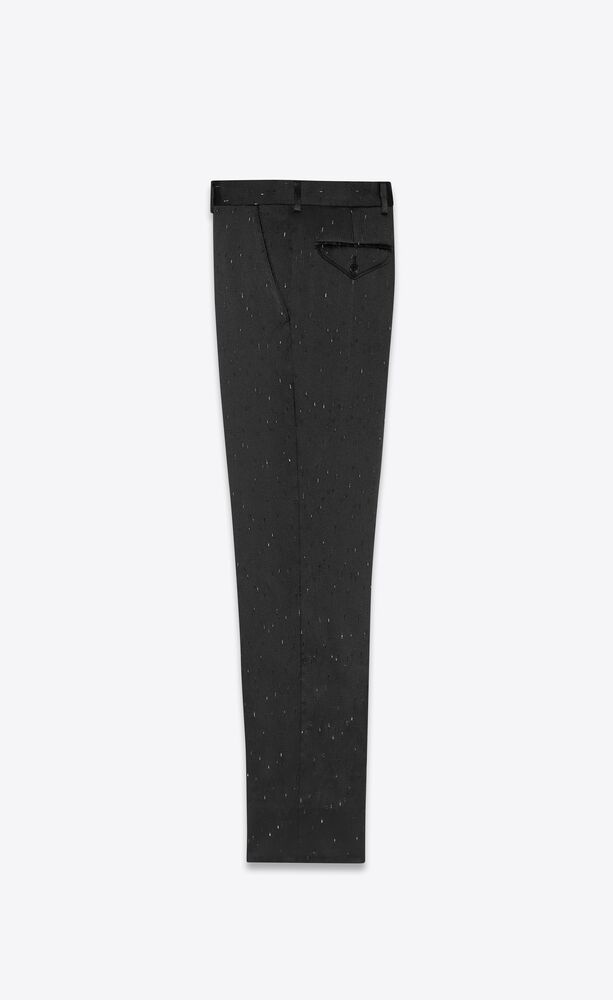 波点火焰纹条纹直筒裤