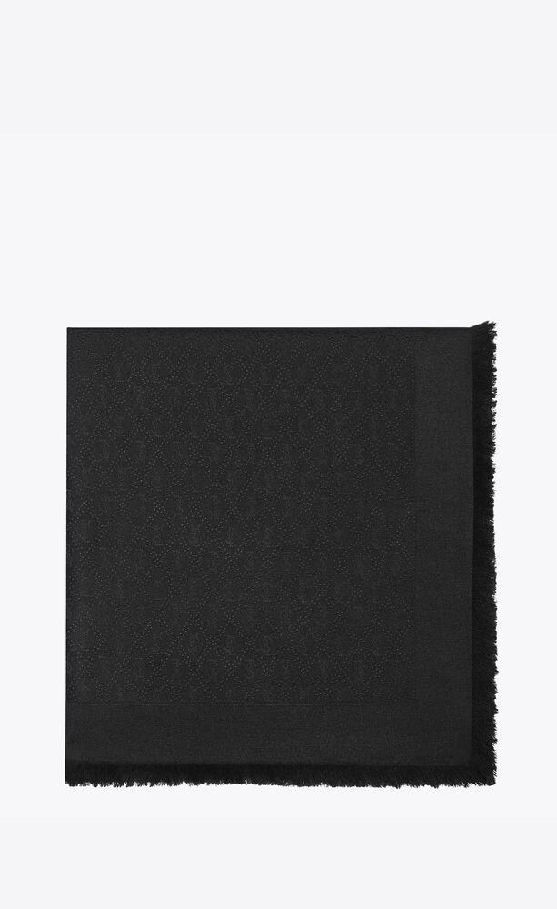 Monogram大号羊毛提花和桑蚕丝方巾