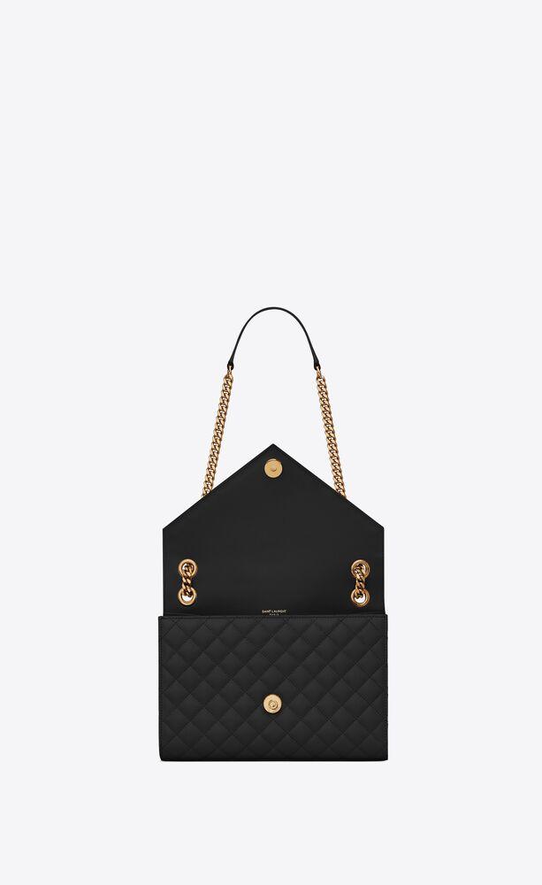 Envelope 中号黑色绗缝纹理真皮包