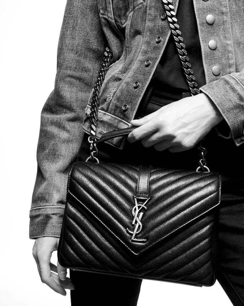 COLLEGE中号绗缝皮革手袋