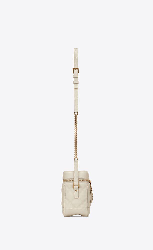 方形绗缝粒面压印皮革80年代风格VANITY手袋
