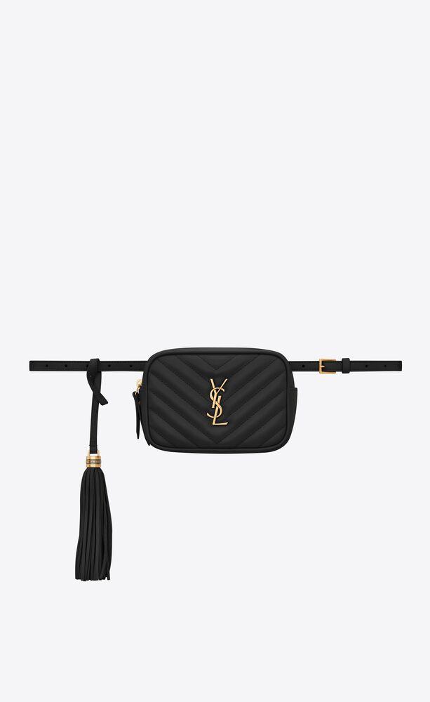 Lou 黑色绗缝真皮腰包