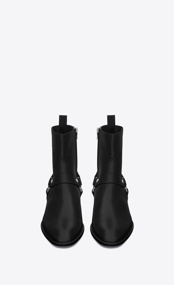 经典 wyatt 黑色真皮机车靴