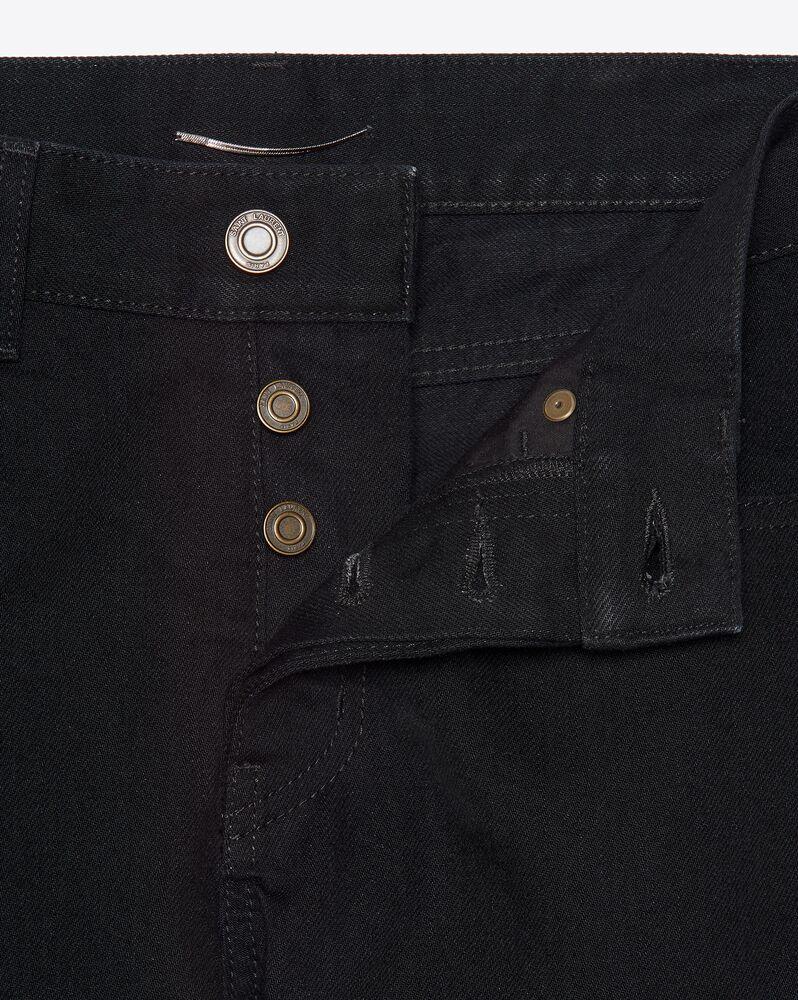 做旧黑色修身牛仔裤