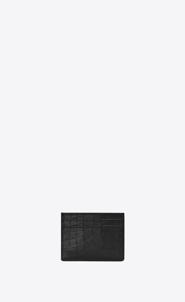 Tiny Monogram鳄鱼纹压印雾面皮革卡包