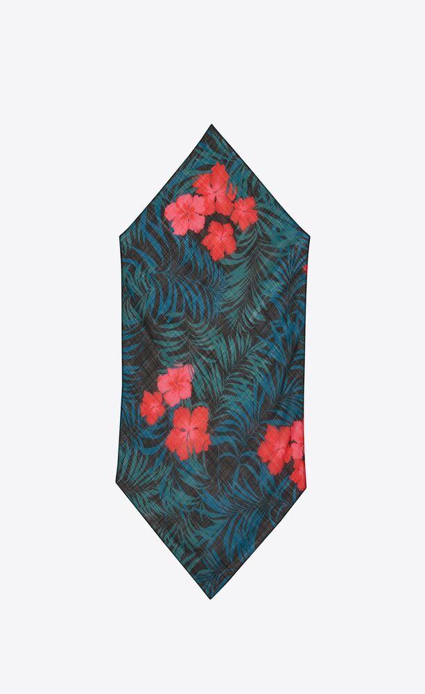 羊毛沙罗木槿花尖角围巾