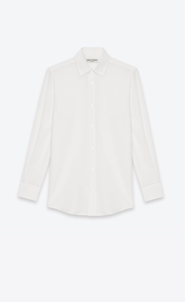白色丝绉paris领衬衫