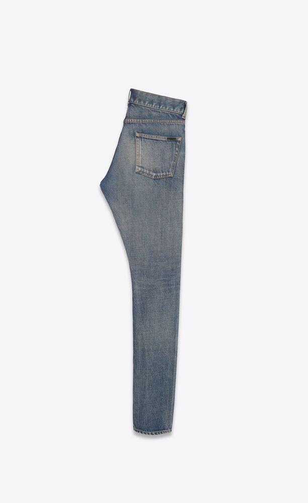 灰调砂质蓝修身牛仔裤