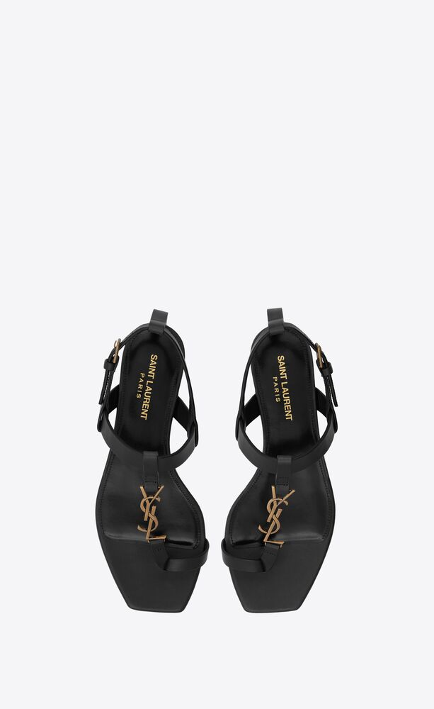 CASSANDRA金色字母标志光滑皮革平底凉鞋