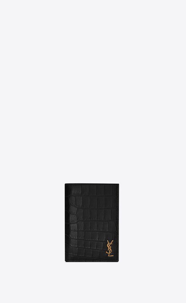 Tiny Monogram鳄鱼纹压印雾面皮革信用卡包